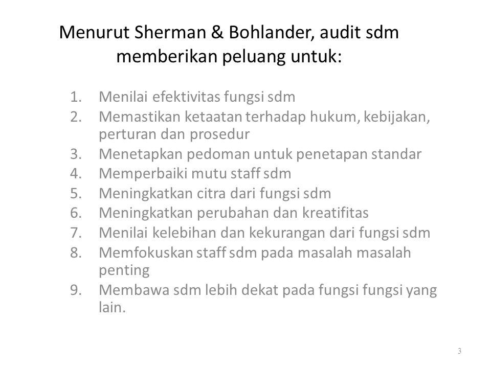 Menurut Sherman & Bohlander, audit sdm memberikan peluang untuk: