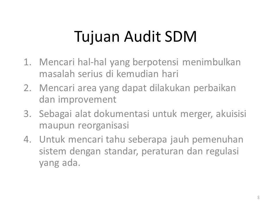 Tujuan Audit SDM Mencari hal-hal yang berpotensi menimbulkan masalah serius di kemudian hari.
