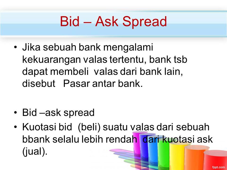 Bid – Ask Spread Jika sebuah bank mengalami kekuarangan valas tertentu, bank tsb dapat membeli valas dari bank lain, disebut Pasar antar bank.