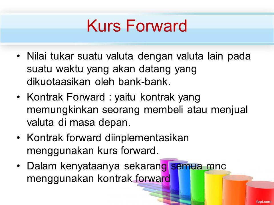 Kurs Forward Nilai tukar suatu valuta dengan valuta lain pada suatu waktu yang akan datang yang dikuotaasikan oleh bank-bank.