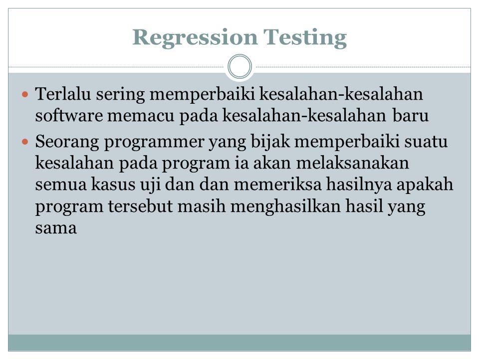 Regression Testing Terlalu sering memperbaiki kesalahan-kesalahan software memacu pada kesalahan-kesalahan baru.