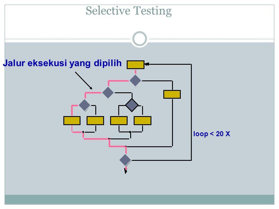 Selective Testing Jalur eksekusi yang dipilih loop < 20 X