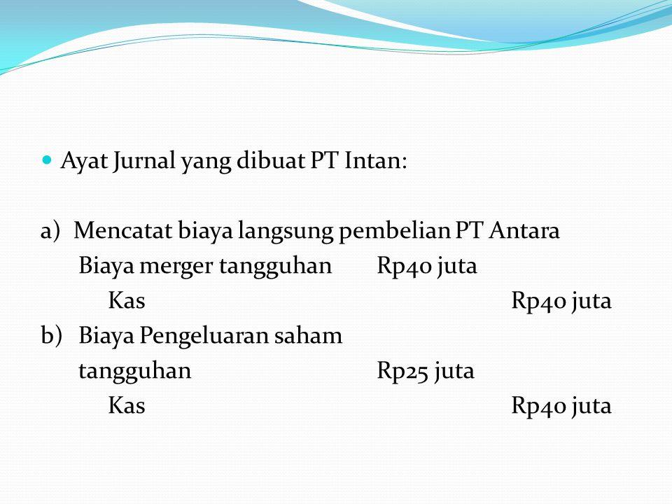 Ayat Jurnal yang dibuat PT Intan:
