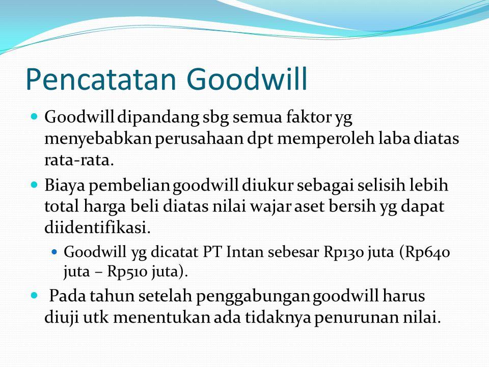 Pencatatan Goodwill Goodwill dipandang sbg semua faktor yg menyebabkan perusahaan dpt memperoleh laba diatas rata-rata.