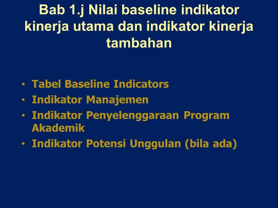 Bab 1.j Nilai baseline indikator kinerja utama dan indikator kinerja tambahan