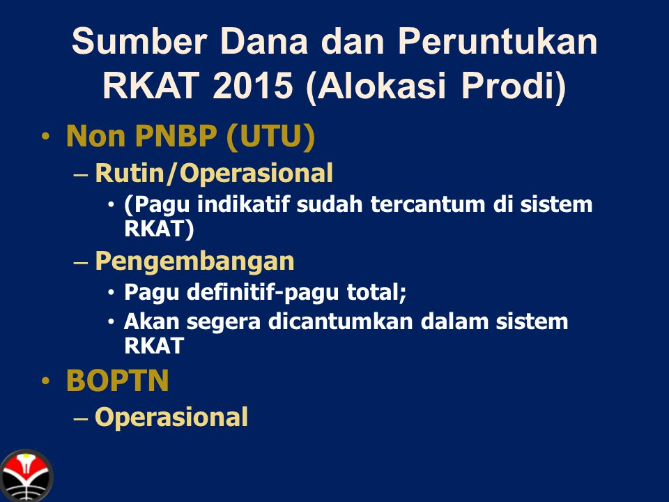 Sumber Dana dan Peruntukan RKAT 2015 (Alokasi Prodi)