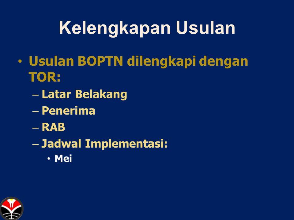 Kelengkapan Usulan Usulan BOPTN dilengkapi dengan TOR: Latar Belakang