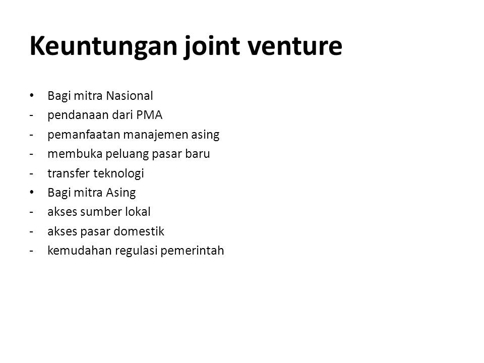 Keuntungan joint venture