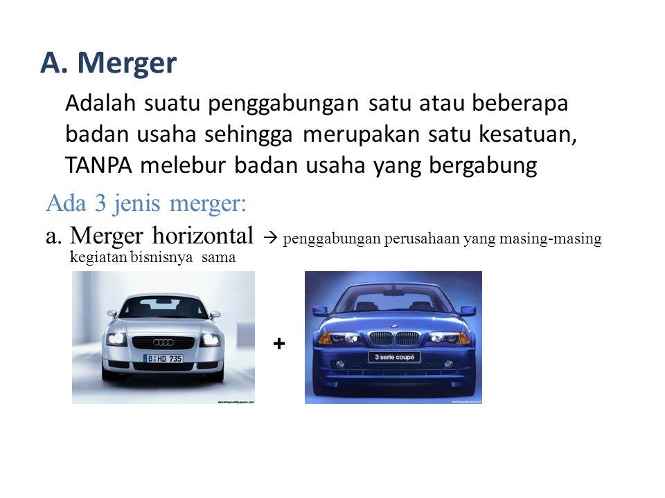 A. Merger Adalah suatu penggabungan satu atau beberapa badan usaha sehingga merupakan satu kesatuan, TANPA melebur badan usaha yang bergabung.