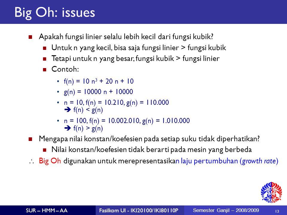 Big Oh: issues Apakah fungsi linier selalu lebih kecil dari fungsi kubik Untuk n yang kecil, bisa saja fungsi linier > fungsi kubik.