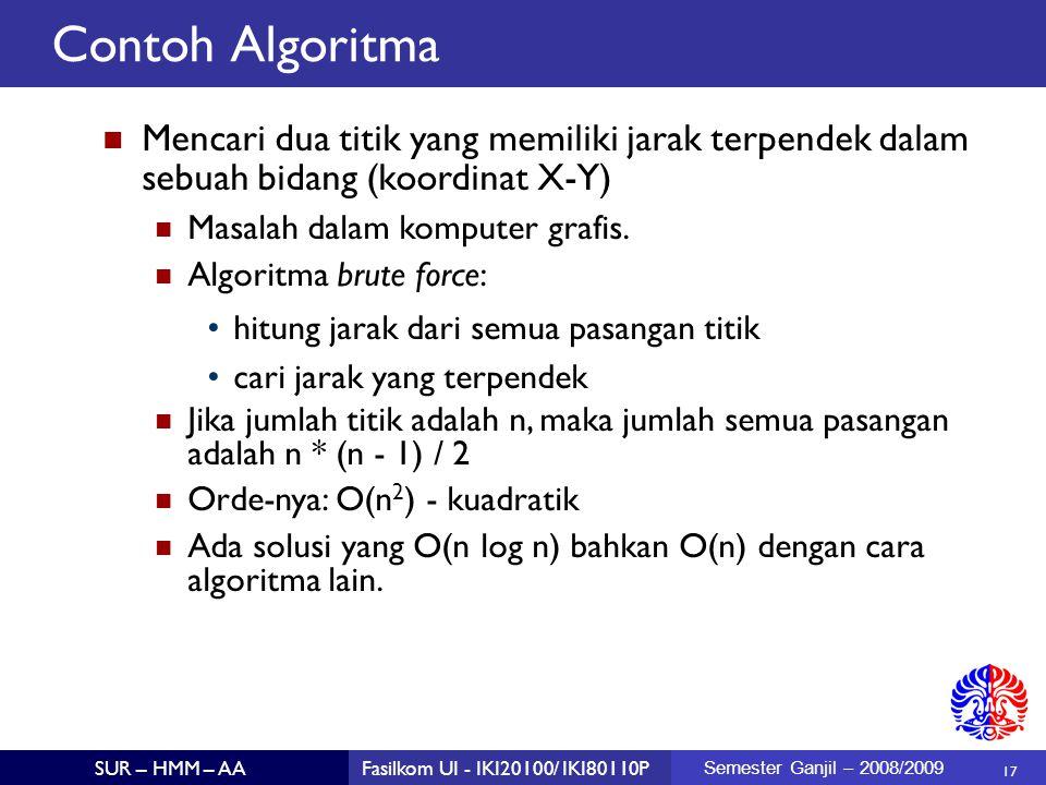 Contoh Algoritma Mencari dua titik yang memiliki jarak terpendek dalam sebuah bidang (koordinat X-Y)