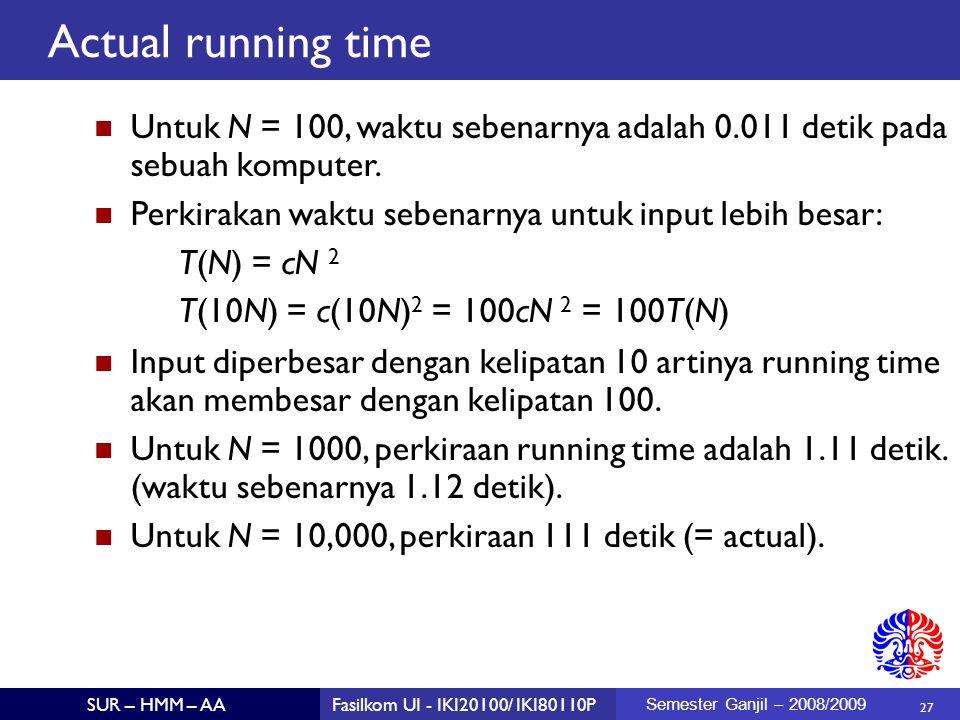 Actual running time Untuk N = 100, waktu sebenarnya adalah 0.011 detik pada sebuah komputer. Perkirakan waktu sebenarnya untuk input lebih besar: