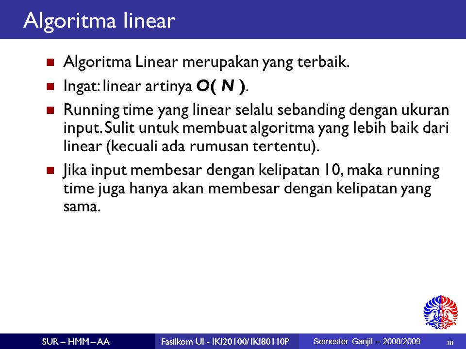 Algoritma linear Algoritma Linear merupakan yang terbaik.