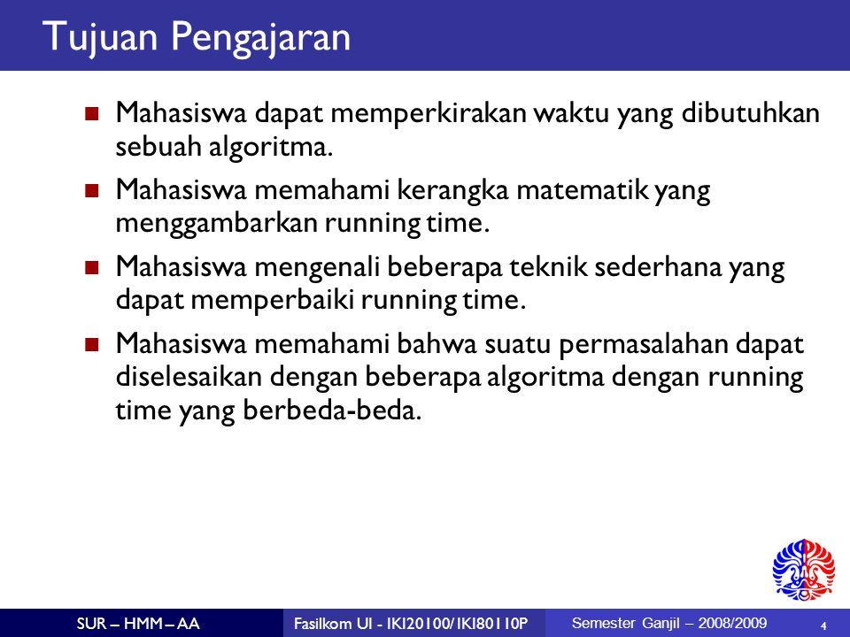 Tujuan Pengajaran Mahasiswa dapat memperkirakan waktu yang dibutuhkan sebuah algoritma.