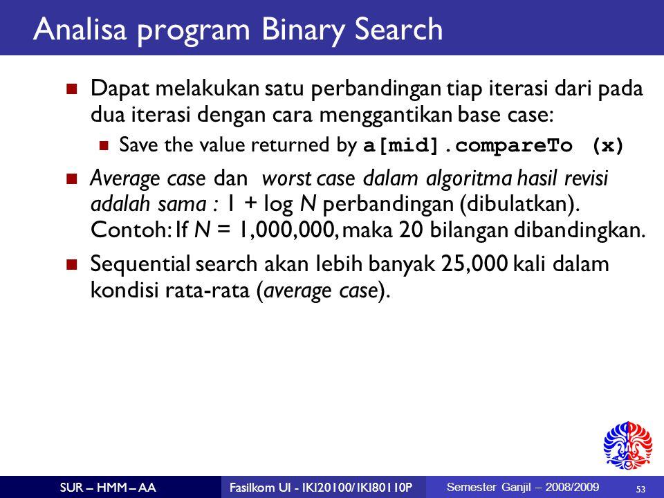 Analisa program Binary Search