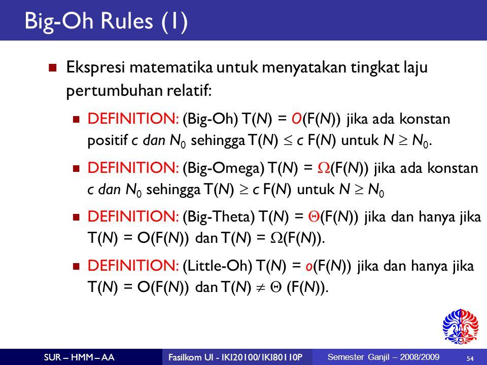 Big-Oh Rules (1) Ekspresi matematika untuk menyatakan tingkat laju pertumbuhan relatif: