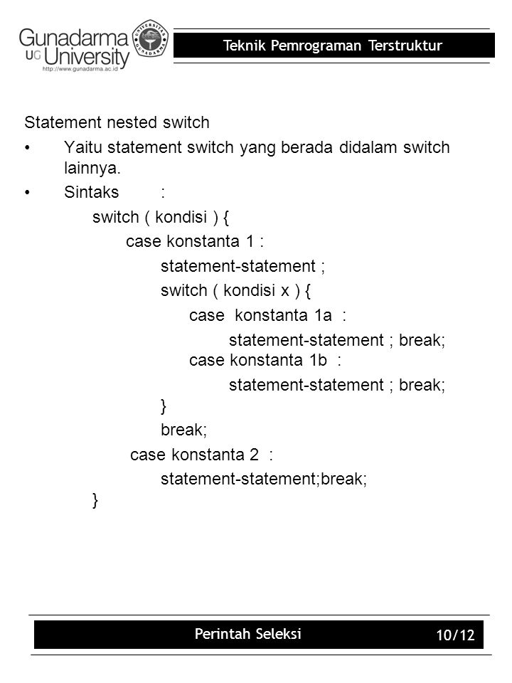 Statement nested switch