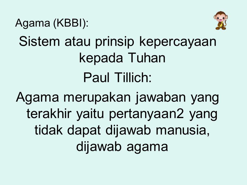 Sistem atau prinsip kepercayaan kepada Tuhan