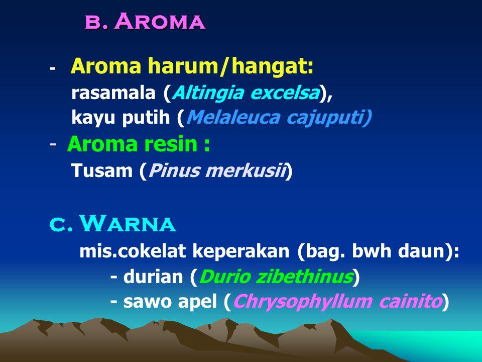 b. Aroma c. Warna Aroma resin : - Aroma harum/hangat: