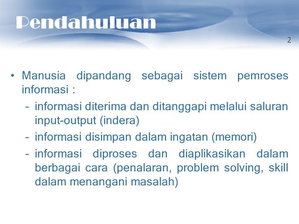 Pendahuluan Manusia dipandang sebagai sistem pemroses informasi :