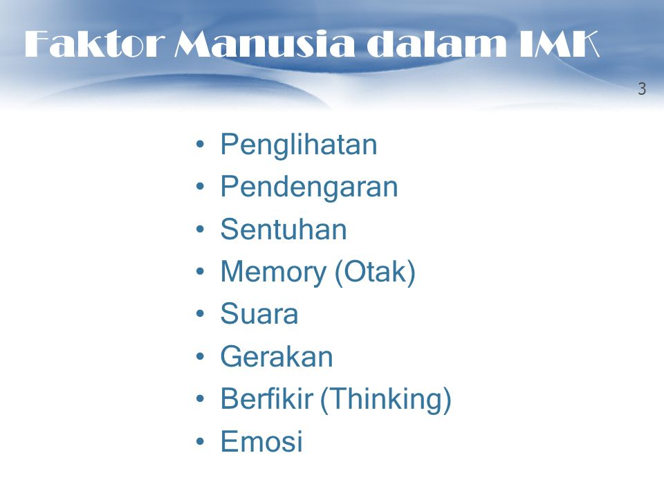 Faktor Manusia dalam IMK