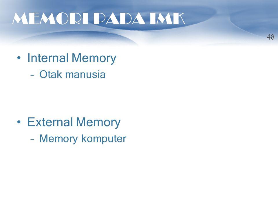 MEMORI PADA IMK Internal Memory External Memory Otak manusia