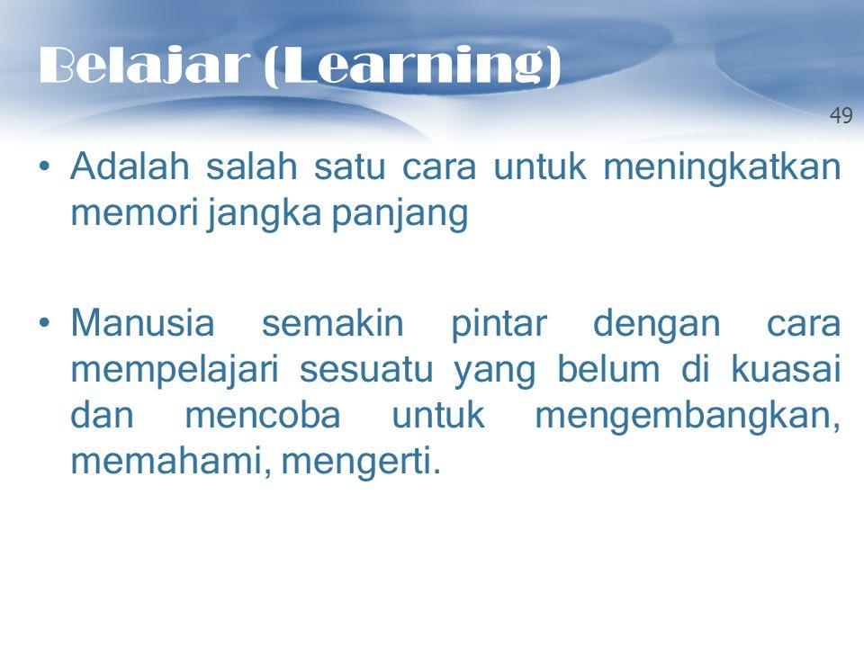 Belajar (Learning) Adalah salah satu cara untuk meningkatkan memori jangka panjang.