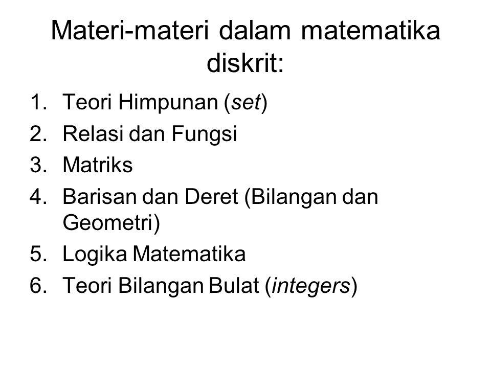 Materi-materi dalam matematika diskrit: