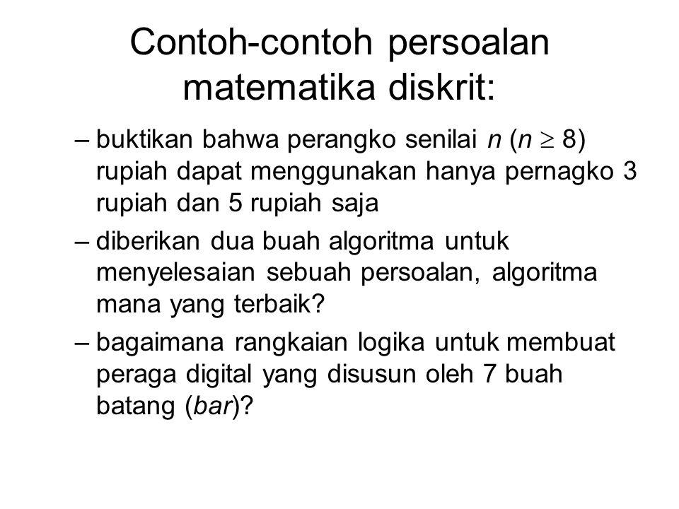 Contoh-contoh persoalan matematika diskrit: