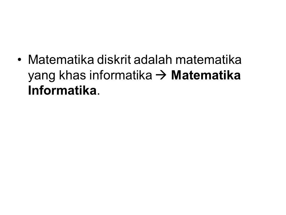 Matematika diskrit adalah matematika yang khas informatika  Matematika Informatika.