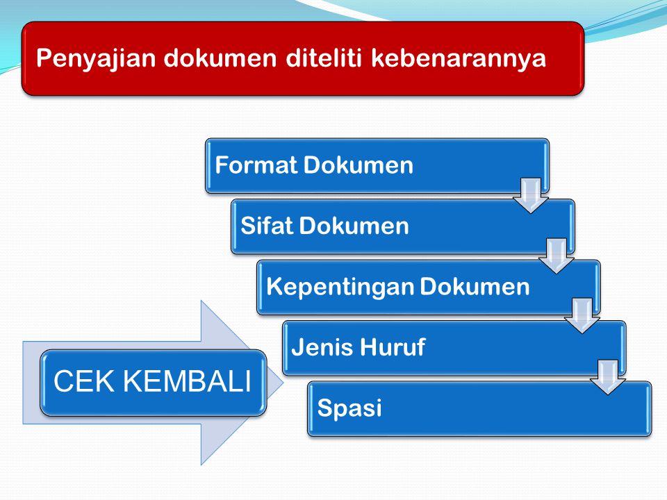 CEK KEMBALI Penyajian dokumen diteliti kebenarannya Format Dokumen