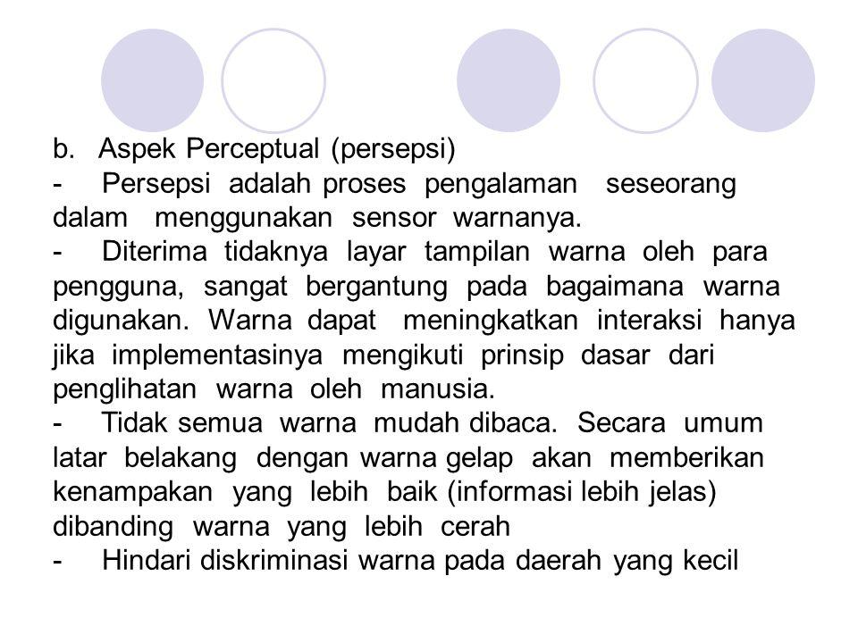 b. Aspek Perceptual (persepsi)