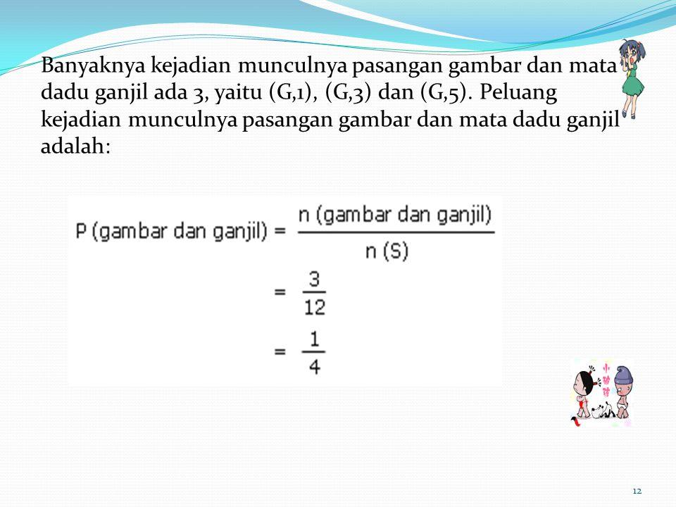 Banyaknya kejadian munculnya pasangan gambar dan mata dadu ganjil ada 3, yaitu (G,1), (G,3) dan (G,5).