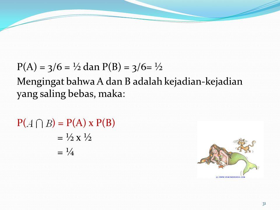 P(A) = 3/6 = ½ dan P(B) = 3/6= ½ Mengingat bahwa A dan B adalah kejadian-kejadian yang saling bebas, maka: P( ) = P(A) x P(B) = ½ x ½ = ¼