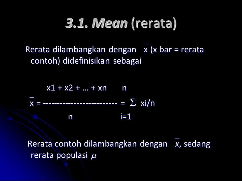 3.1. Mean (rerata) Rerata dilambangkan dengan x (x bar = rerata contoh) didefinisikan sebagai. x1 + x2 + … + xn n.