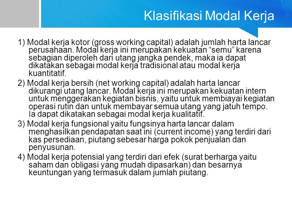 Klasifikasi Modal Kerja