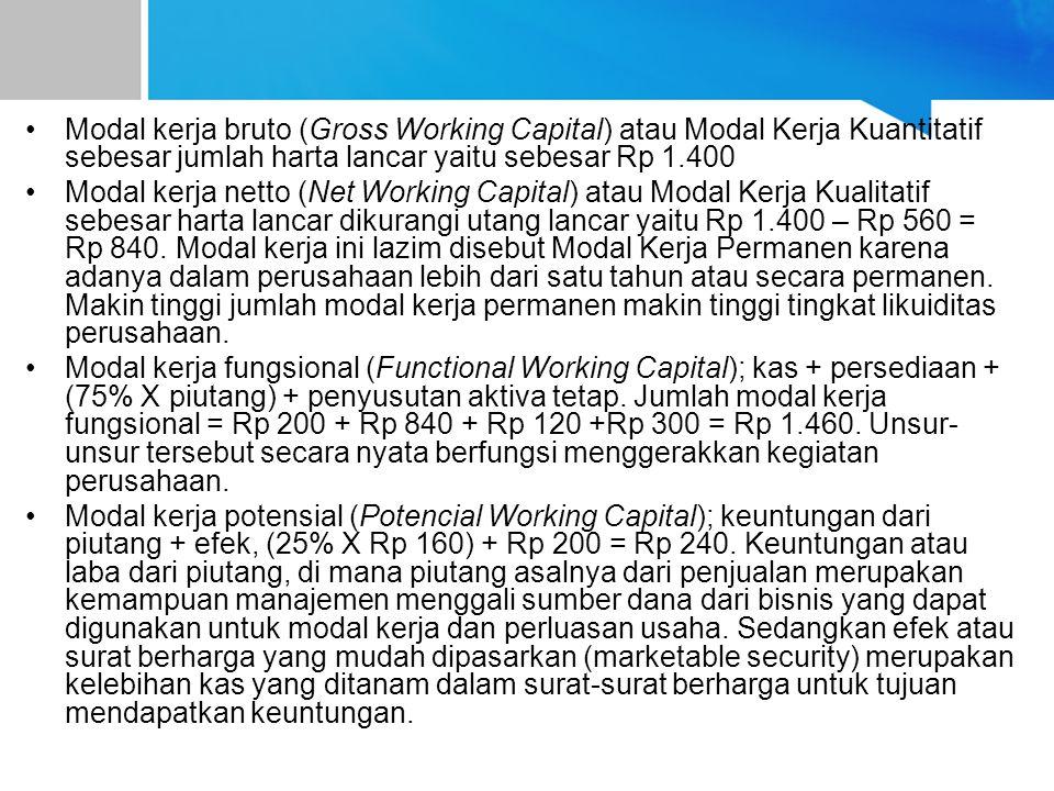 Modal kerja bruto (Gross Working Capital) atau Modal Kerja Kuantitatif sebesar jumlah harta lancar yaitu sebesar Rp 1.400