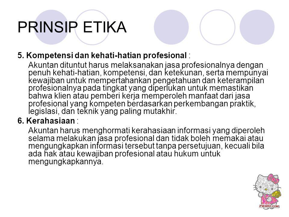 PRINSIP ETIKA 5. Kompetensi dan kehati-hatian profesional :