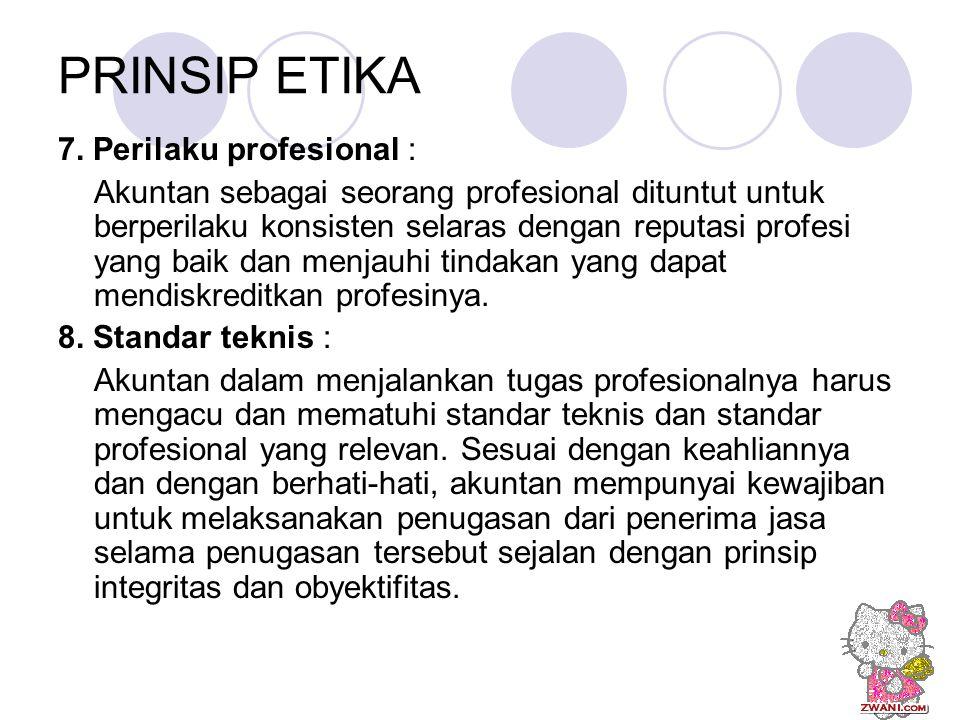 PRINSIP ETIKA 7. Perilaku profesional :