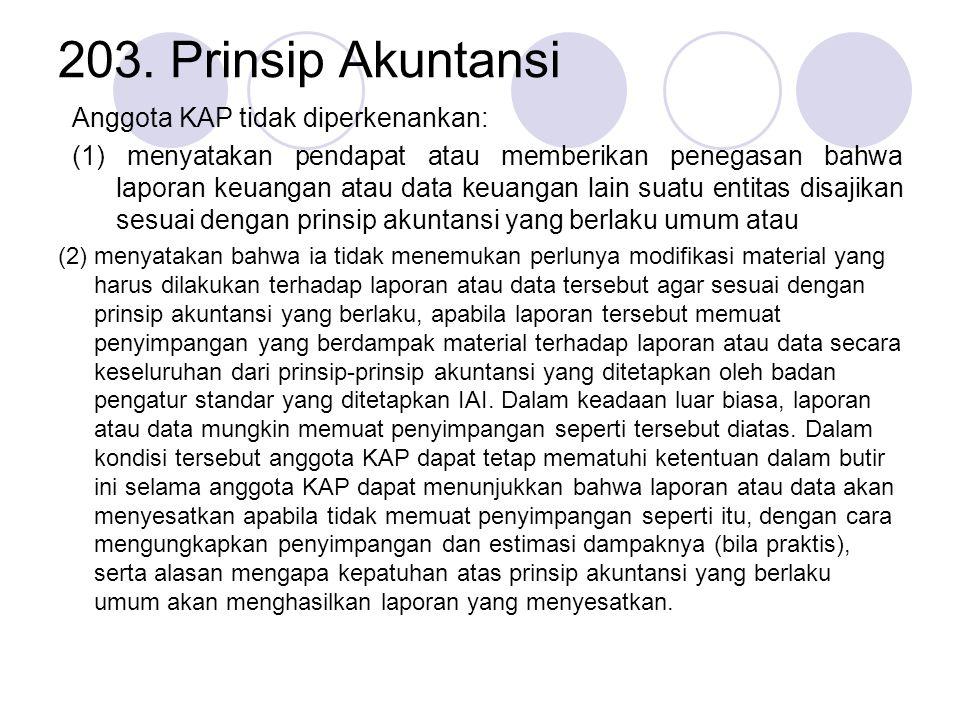 203. Prinsip Akuntansi Anggota KAP tidak diperkenankan:
