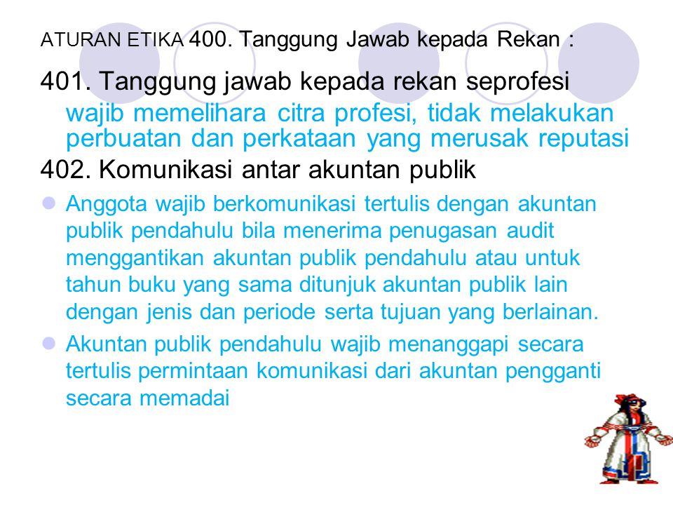 ATURAN ETIKA 400. Tanggung Jawab kepada Rekan :