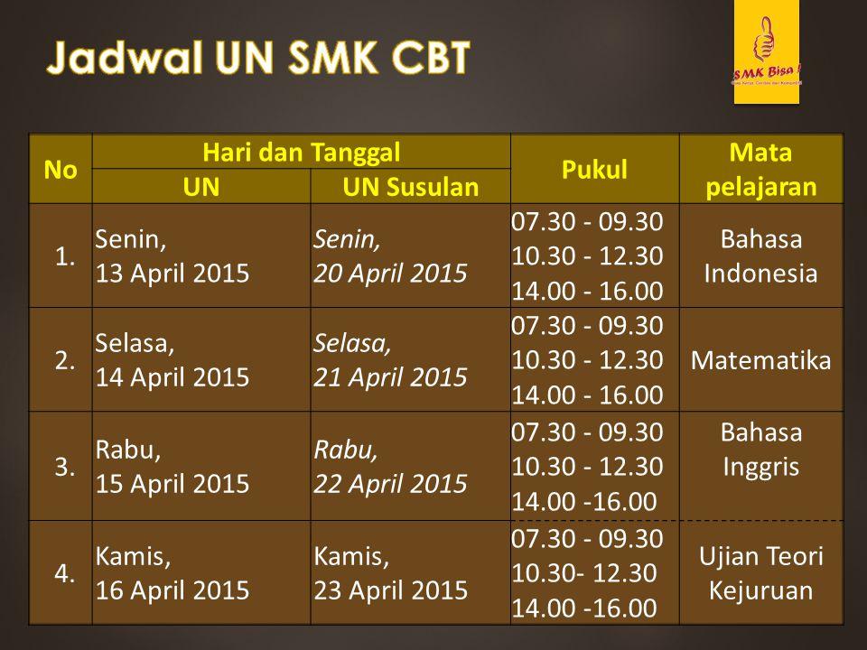Jadwal UN SMK CBT No Hari dan Tanggal Pukul Mata pelajaran UN