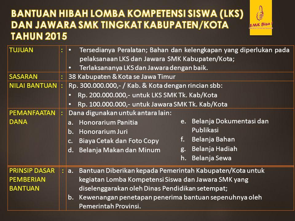 BANTUAN HIBAH LOMBA KOMPETENSI SISWA (LKS) DAN JAWARA SMK TINGKAT KABUPATEN/KOTA TAHUN 2015