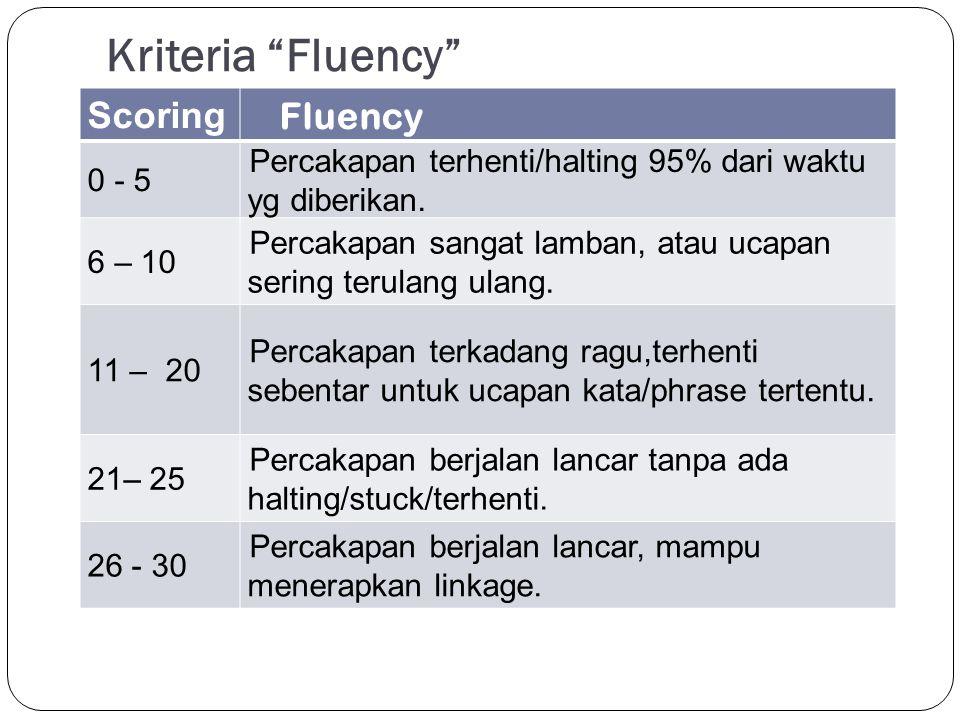 Kriteria Fluency Scoring Fluency