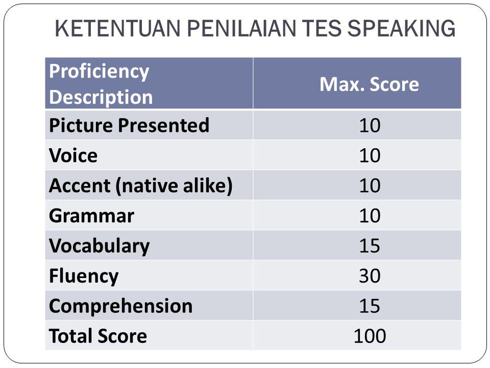 KETENTUAN PENILAIAN TES SPEAKING