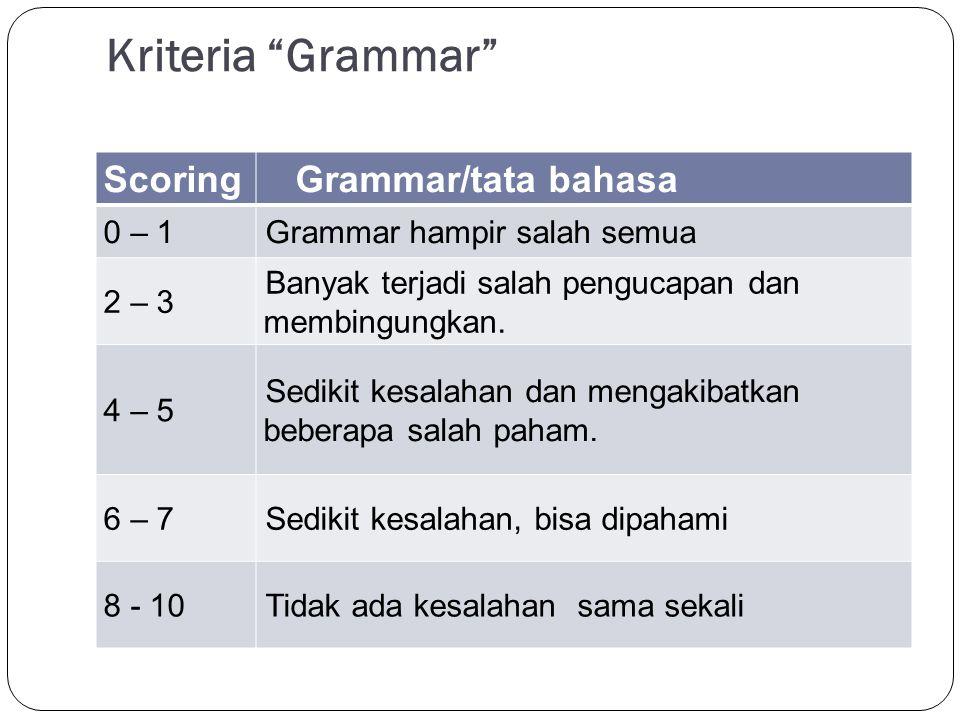 Kriteria Grammar Scoring Grammar/tata bahasa 0 – 1