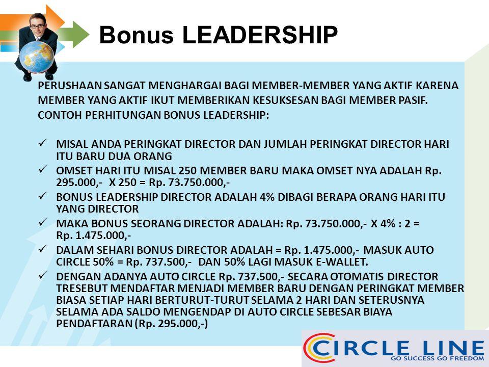 Bonus LEADERSHIP PERUSHAAN SANGAT MENGHARGAI BAGI MEMBER-MEMBER YANG AKTIF KARENA. MEMBER YANG AKTIF IKUT MEMBERIKAN KESUKSESAN BAGI MEMBER PASIF.
