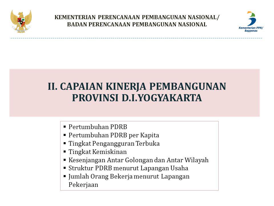 II. CAPAIAN KINERJA PEMBANGUNAN PROVINSI D.I.YOGYAKARTA