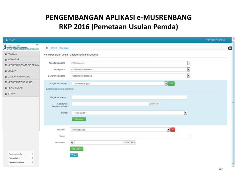 PENGEMBANGAN APLIKASI e-MUSRENBANG RKP 2016 (Pemetaan Usulan Pemda)