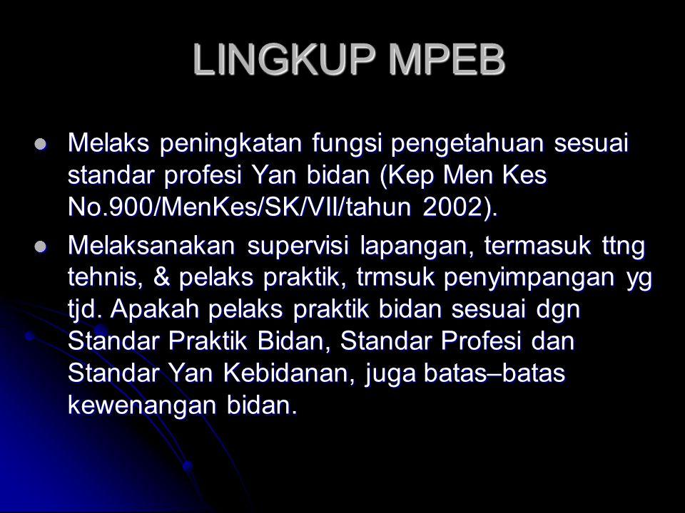 LINGKUP MPEB Melaks peningkatan fungsi pengetahuan sesuai standar profesi Yan bidan (Kep Men Kes No.900/MenKes/SK/VII/tahun 2002).